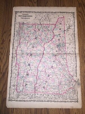 1852 Genuine Antique Hand Colored Map New Hampshire And Vermont By Johnson