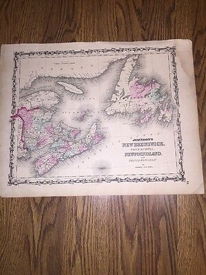 1852 Genuine Antique Hand Colored Map Of New Brunswick, Newfoundland  By Johnson