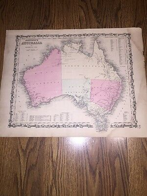 1852 Genuine Antique Hand Colored Map Of Australia Johnson & Ward