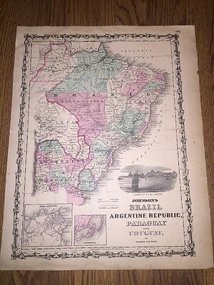 1852 Genuine Antique Hand Colored Map of Brazil/Argentina/Uruguay Johnson & Ward