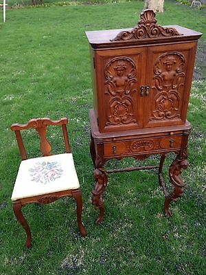 ANTIQUE Art Deco French Heavily Carved Ladies Petite Writing Secretary Desk