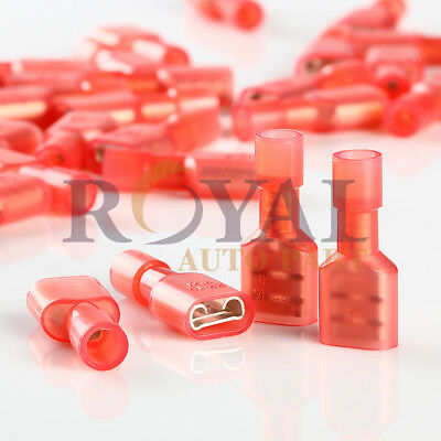 """(100) Nylon .25"""" Red 22-16Awg Female Fully Insulated Quick Disconnect Terminal"""