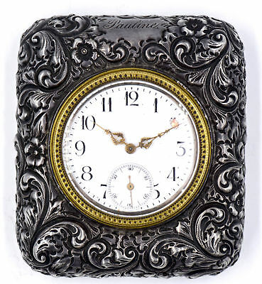 Antique Black Starr Frost Sterling Silver Repousse Travel Clock