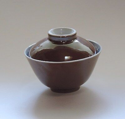 Chinese porcelain brown cup and lid