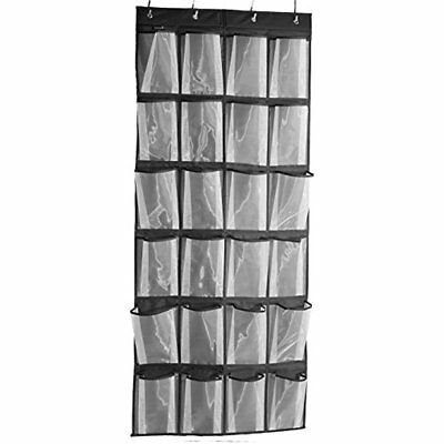 8ead4d165be Misslo Sturdy Hanging Over The Door Shoe Organizer 24 Large Mesh Pockets  (Black)