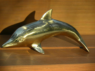 Vintage Polished Brass Dolphin or Porpoise Figurine