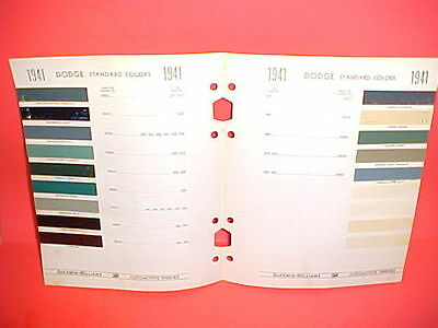 1941 Dodge Car Deluxe Custom Convertible Club Coupe Sedan Brougham Paint Chips+
