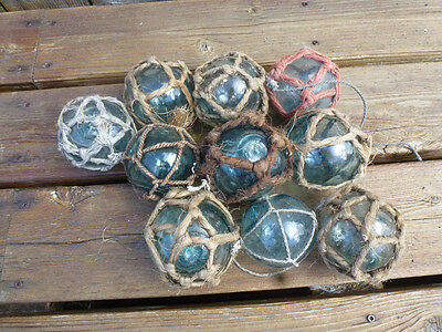 "Vintage Japanese Round Glass Fishing Floats W/ Netting, 3"",  Lot 10"