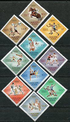 Hungary 1964 Tokyo Olympics Set Of 10 Stamps Mint Never Hinged Complete!
