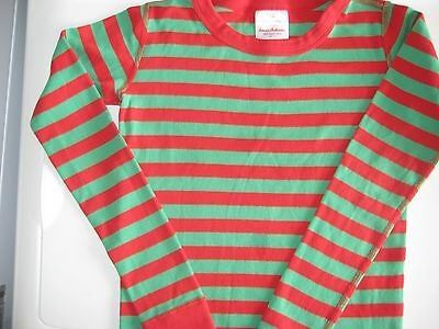 Hanna Andersson 140 (size 10) red and green pajama organic cotton top EUC
