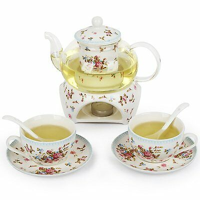 24 oz tea maker teapot with a Porcelain warmer and Cup and Saucer ,spoon MGHY S6
