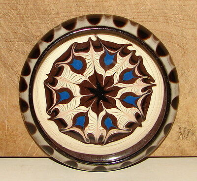 Vintage Redware Pottery Feather Drip Glazed Cup Coaster
