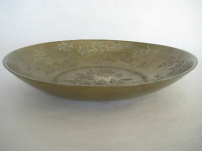 Large Vintage Chinese Brass Hand Engraved Flowers & Mandarin Duck Bowl (Heavy)