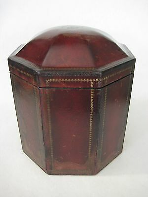 Rare Old Vintage Heavy Octagon Shape Cigar Humidor Leather On Laquer Wooden Box