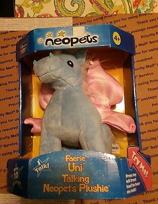 "Plush 9"" 2003 Neopet Uni Unicorn Horse Blue Pink Wings Talks Cheeks Light"