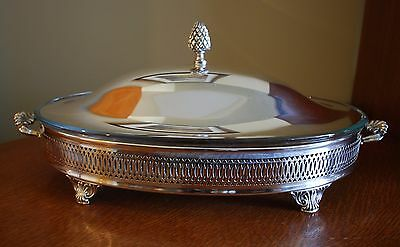 """Silverplate Oval Casserole Server W/lid Oven Proof Glass  17"""" Pinecone Finial"""