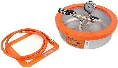 1 Gallon Flat Stainless Steel Vacuum Chamber Assembled in USA, contains domesti