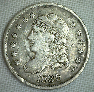 1835 Capped Bust Silver Half Dime United States Type Coin VF Very Fine