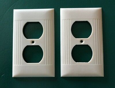 Lot of 2 Vintage Sierra Bakelite Ribbed Electrical Outlet Plate Wall Cover Ivory