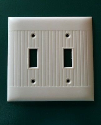 Vintage Sierra Bakelite Ribbed double light switch Plate Wall Cover Ivory