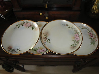 "Antique HC Royal Bavaria Hand Painted Plate 9.5"" Gold Rim Flowers Set Of 4 Nice!"