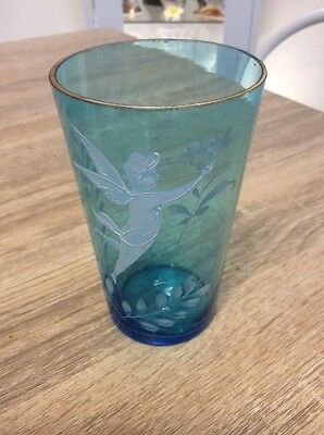 Victorian Mary Gregory Blue Beaker
