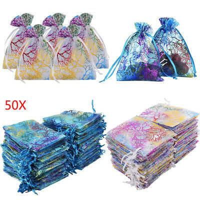 9/12/15cm 50Pcs Small Organza Bags Wedding Party Favour Gift Bags Candy Pouches