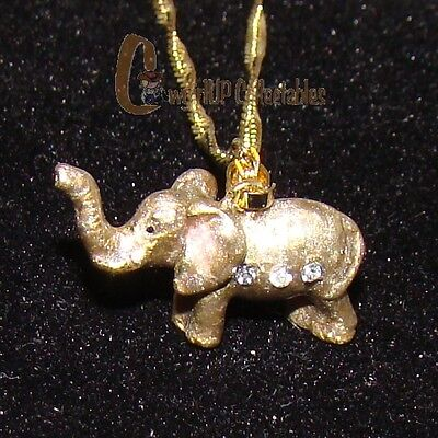 Unique ELEPHANT Bejeweled Enamel Necklace (Wildlife Collectible, 3859EN)