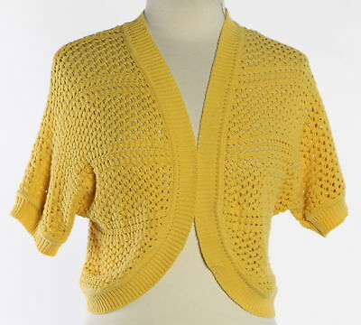Women's 89TH & MADISON Yellow Open Front Shrug Sweater Size M
