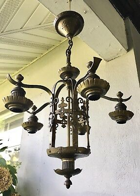 Vintage Gothic Revival Tudor Arts & Crafts Deco Bronze Light Chandelier Fixture