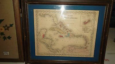 Vintage Framed CARIBBEAN MAP  -  West Indies  -  23 X 20 inches  -  Pick Up