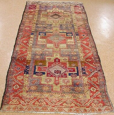 PERSIAN LURI NOMADIC TRIBAL Hand Knotted Wool SOFT BLUE RUST PURPLE Rug 5 x 10