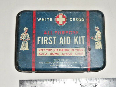 Vintage White Cross Metal First Aid Kit  Container - Empty - Nice Condition