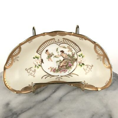 Antique Ardalt Lenwile Hand Painted Crescent Bone Dish Lady & Cherub Gold