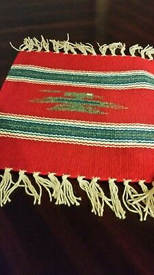 Chimayo 100% Wool Textile 10 X 10 Red / Thunder Bird  Weaving Made in New Mexico