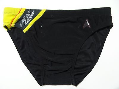 "Boys Speedo Style Swim Brief Swimsuit Slip Youth 12/14Y 28-30"" Black+Yellow"