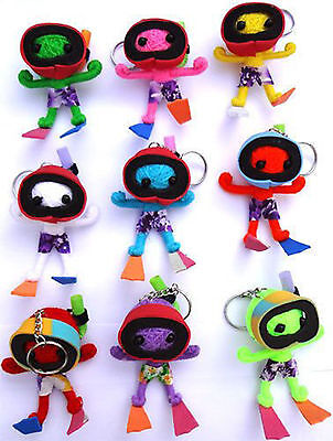 2 X Random Voodoo Doll Keyrings Keychains in Scuba Diving Snorkel Mask Flippers