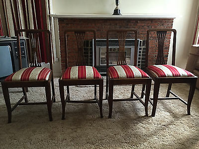 4 Antique Upholstered Wooden Chairs