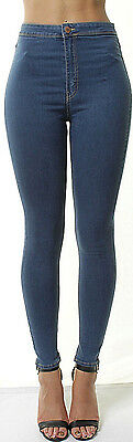 WOMENS HIGH WAISTED Slim SKINNY JEANS JEGGINGs Ladies Stretchy Pants 6-18