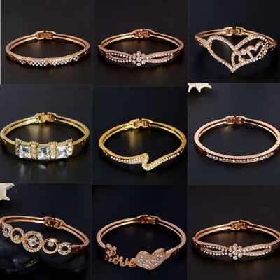 1Pc Woman Elegant Rose Gold/Gold Plated Crystal Bangle Bracelet Chain Jewelry