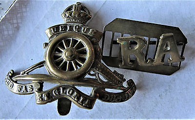 Royal Artillery  R A   Nice  Early Badges   With  Rare  Spinning Wheel