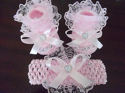 Hand knitted Romany Bling baby girls pink booties + Crochet headband.