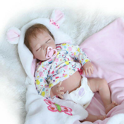22' Lifelike Baby Doll Girl Half Body Soft Silicone Lovely Infant Reborn