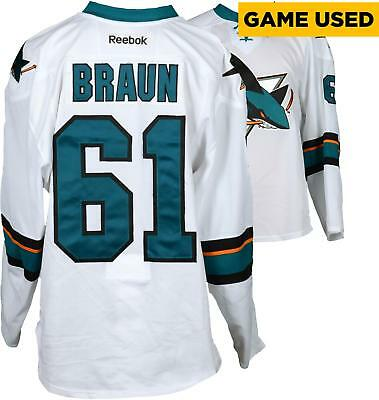 Game Used Justin Braun Sharks Jersey Fanatics Authentic COA Item#7399582