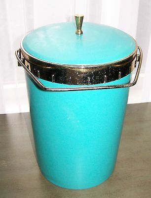 Mid-Century Modern Vintage Turquoise Pas-Tex Ice Bucket With Gold Trim