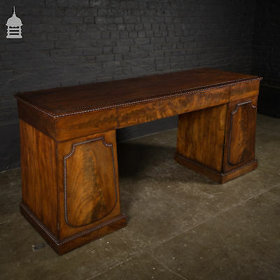 Regency Flame Mahogany Break Front Pedestal Sideboard