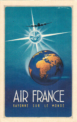 AVIATION AVION AIR FRANCE rayonne sur le monde carte postale