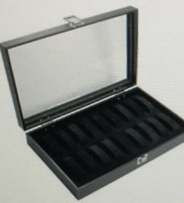 Sodynee 18 Pc Black Watch Tray Showcase Display Case With /glass Top
