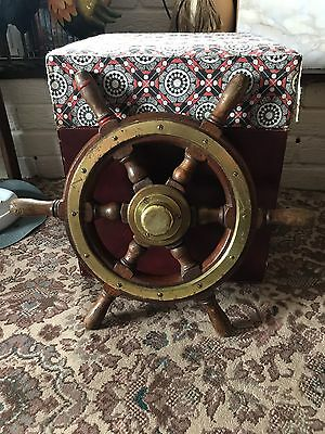 Vintage Brass And Wood Ships Wheel