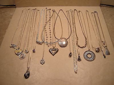 925 Sterling Silver Lot of Vintage / Retro Necklaces, Chains, Pendants 153 grams